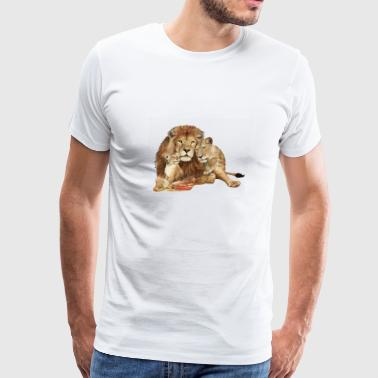 Lion Family - Double Exposure - Men's Premium T-Shirt