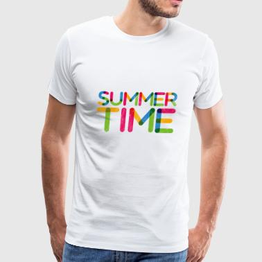 Summer Time ! Colourful Sunny Day Typography - Men's Premium T-Shirt