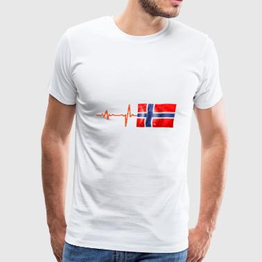 Heartbeat Norway flag gift - Men's Premium T-Shirt