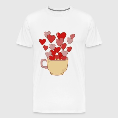 Cup of tea with hearts - Men's Premium T-Shirt