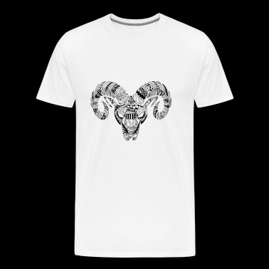 Aries Zodiac Sign Black Illustration - Men's Premium T-Shirt