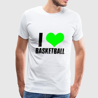 GIFT - I LOVE BASKETBALL GREEN - Men's Premium T-Shirt