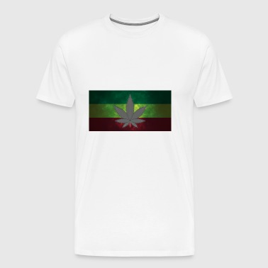 Marijuana on jamaica Flag - Men's Premium T-Shirt
