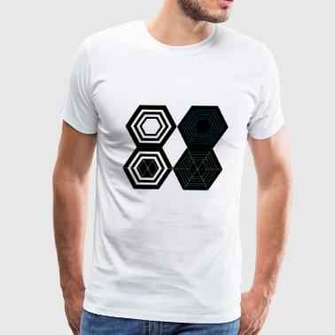 Honeycomb Geometry Present Art Design Neon - Men's Premium T-Shirt