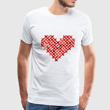Cross Stiched Stiching Knit Knitted Heart Gift - Men's Premium T-Shirt