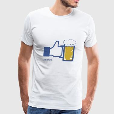 Facebook Parody Beer Thumbs Up People Like This - Men's Premium T-Shirt