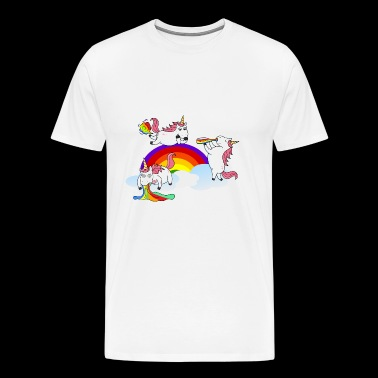 Unicorns Farting Drinking Puking - Men's Premium T-Shirt