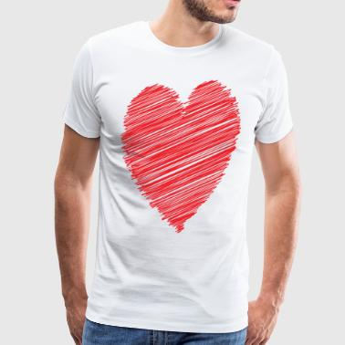 RED HEART SCRIBBLE Pop Art - Men's Premium T-Shirt