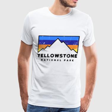 Yellowstone National Park Retro Mountain Colors ca - Men's Premium T-Shirt