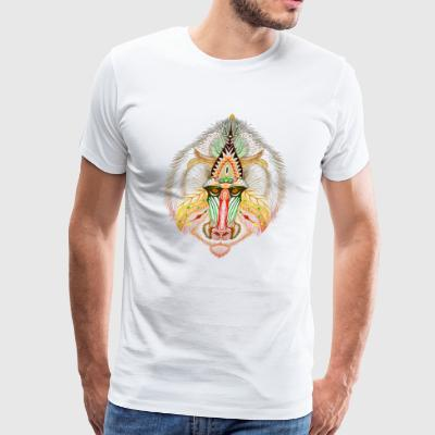 Colored baboon in aztec style clothing & products - Men's Premium T-Shirt