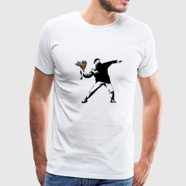 Banksy Rage Flower Thrower - Men's Premium T-Shirt