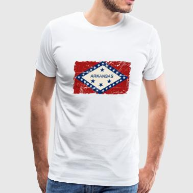 Arkansas Flag - Vintage Look  - Men's Premium T-Shirt