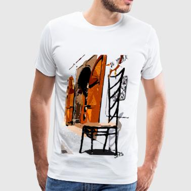 A chair street view of Europe graphic art - Men's Premium T-Shirt