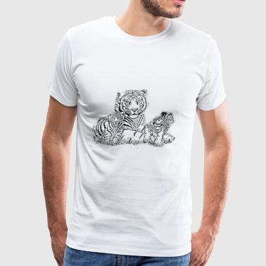 tiger mom with cubs - Men's Premium T-Shirt
