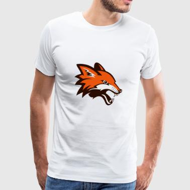 Angry Fox Foxhound Wolf Dog Icon Football Baseball - Men's Premium T-Shirt