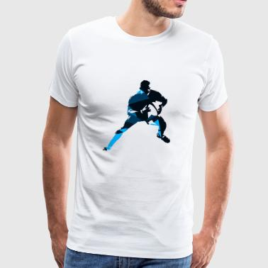 Silhouettes man rugby player sport vector image - Men's Premium T-Shirt