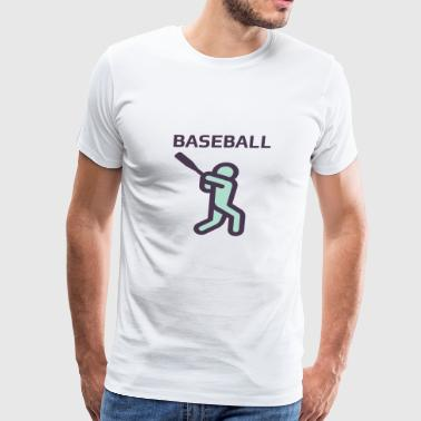 Batter Up - Baseball -Retro Old School Graphics - Men's Premium T-Shirt