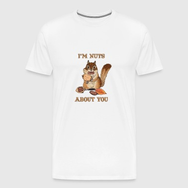I'm Nuts About You Funny Squirrel Pun Couple - Men's Premium T-Shirt