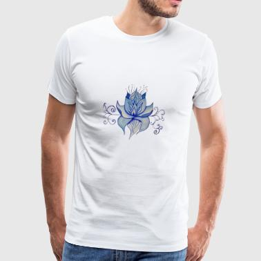 Watercolor Blue Lotus Design - Men's Premium T-Shirt