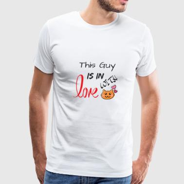 This Guy is in Love with Cat - Men's Premium T-Shirt