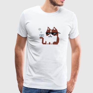 8-BIT CAT COFFEE - Men's Premium T-Shirt