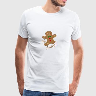 Oh Snap Gingerbread Man Christmas Shirt - Men's Premium T-Shirt