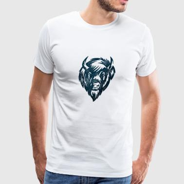 big Bull head animal wild man symbol free indian - Men's Premium T-Shirt