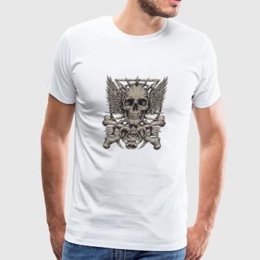 T Shirt skull bones horns wings eye vector image - Men's Premium T-Shirt
