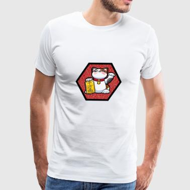 Chinese Lucky Kitty in Frame - Men's Premium T-Shirt