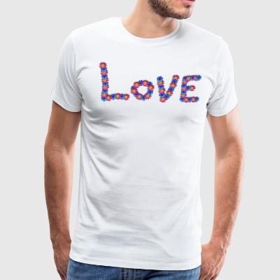 Love spelled out with colorful flowers - Men's Premium T-Shirt