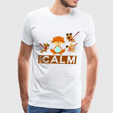 keep calm - relaxed cat with dogs - Men's Premium T-Shirt