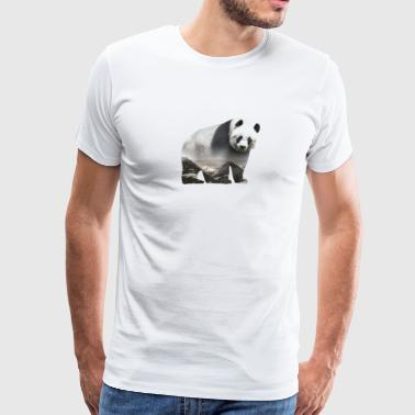 Panda Above The Mountains - Double Exposure Style - Men's Premium T-Shirt