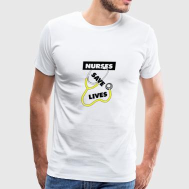 Nurses save lives yellow - Men's Premium T-Shirt