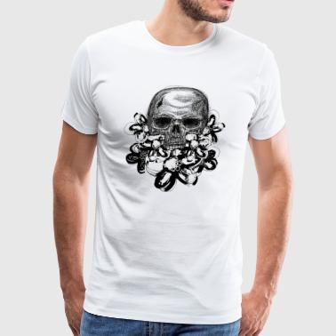 Skull with flowers - Men's Premium T-Shirt