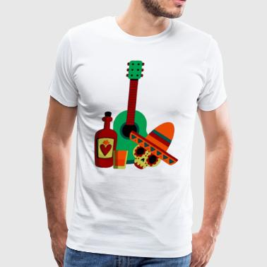 Mexican men skull in party with guitar design - Men's Premium T-Shirt
