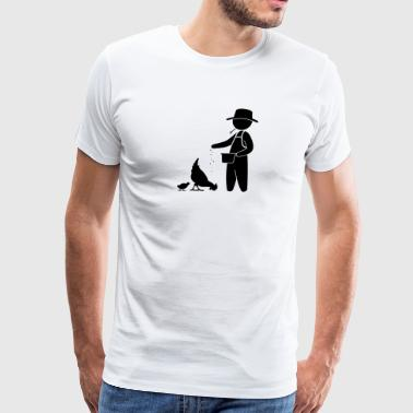Farmer Feeding The Chickens - Men's Premium T-Shirt