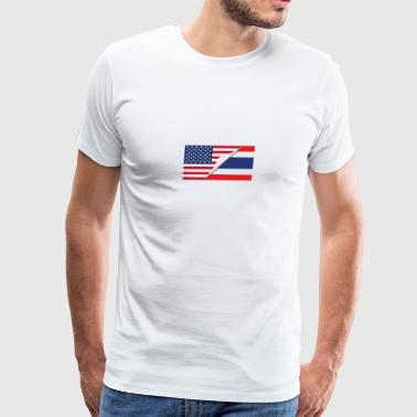Half American Half Thai Flag - Men's Premium T-Shirt
