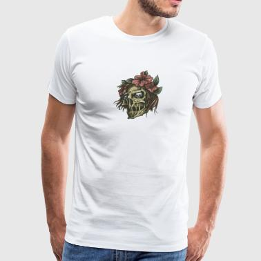 skull_with_flowers_in_hairs - Men's Premium T-Shirt