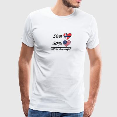 50% Norwegian 50% American 100% Beautiful - Men's Premium T-Shirt