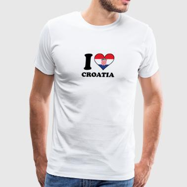 I Love Croatia Croatian Flag Heart - Men's Premium T-Shirt