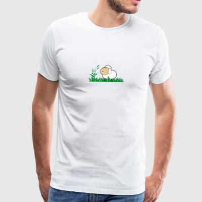 Funny Sheep in green gras - Men's Premium T-Shirt