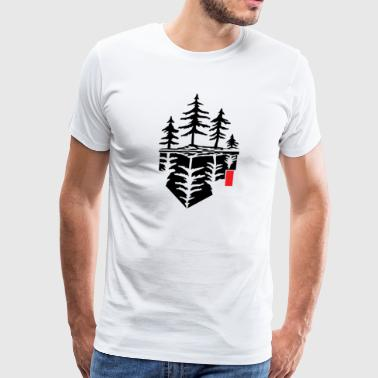 Tree reflection, forest reflection - Men's Premium T-Shirt