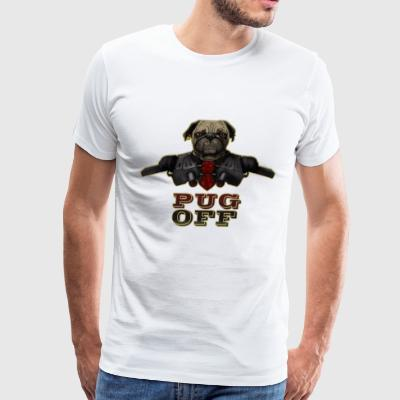 Pug Off - Angry Pug with Gun - Men's Premium T-Shirt