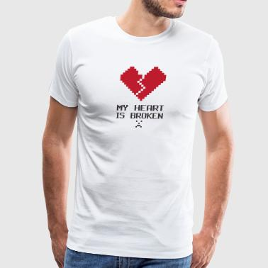 Broken Heart 8Bit FUnny Nerd Geek - Men's Premium T-Shirt