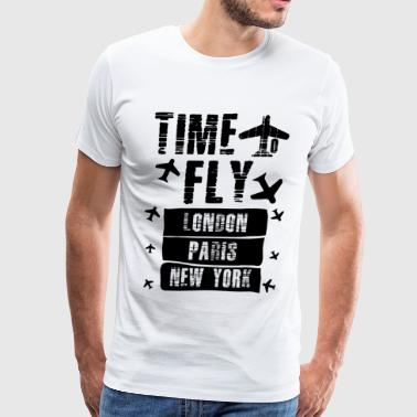 TIME TO FLY LONDON PARIS NEW YORK - Men's Premium T-Shirt