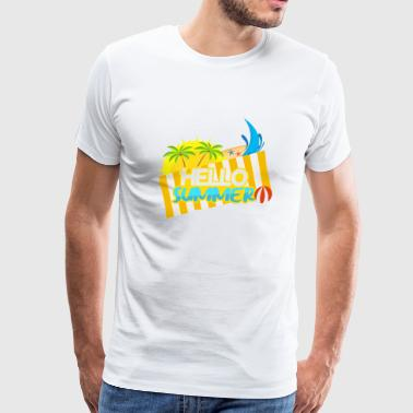 Lettering sun and beach umbrella - Men's Premium T-Shirt