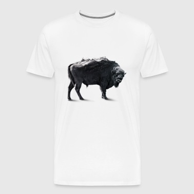 Bison Black and white Double exposure - Men's Premium T-Shirt