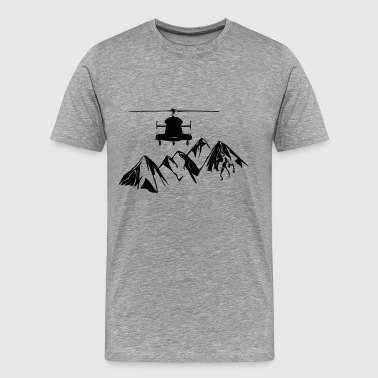 Helicopter with mountains - Men's Premium T-Shirt