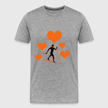 Cross-country skiers with 5 hearts - Men's Premium T-Shirt