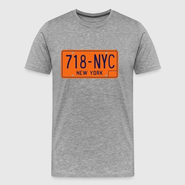 New York 718-NYC License Plate - Men's Premium T-Shirt